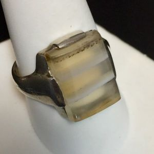 Art Deco Banded Agate Sterling Ring